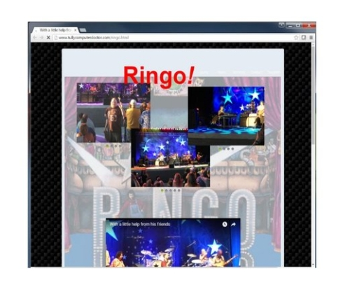 This WebSite was designed for fans of Ringo Starr. It is a fan appreciation site showing the concert pictures as well as video footage for all to enjoy.    This site has not been maintained and is currently off line.
