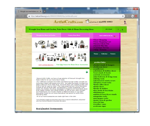 This Web Commerce site was constructed to show the crafts of a wrought iron craft maker and sell them on the internet. It features thumbnail images with descriptions. When the customer is done shopping they are directed to a shopping cart program that allows them to purchase items 24 hours a day and seven days a week with their credit cards.      Click on the thumbnail to go to this offline site.