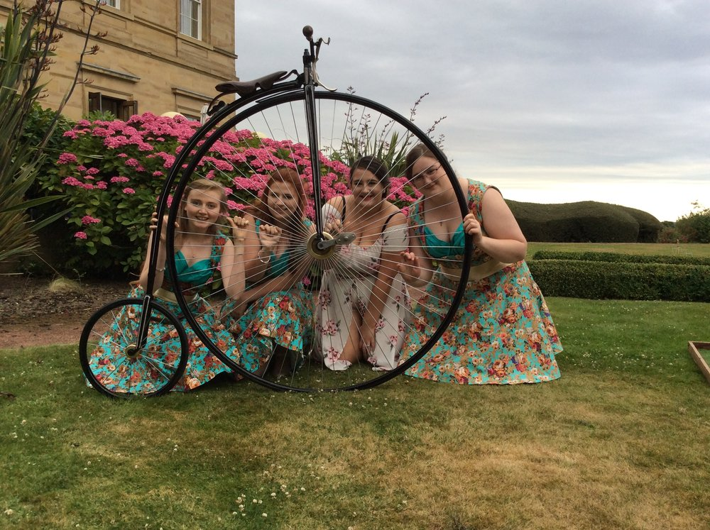 ANY LOCATION - Our Wedding services have been involved with special days all over the UK and Beyond. Delivery and setting up is handled completely by our specialist team, giving you the piece of mind during your special day.The guest Penny Farthing ride attraction can happen both outside and indoors (dependant on space). Your family and guests will be assisted in enjoying a truly Victorian cycling experience by our team.