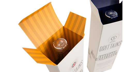 Premium vodka packaging printed both inside and out