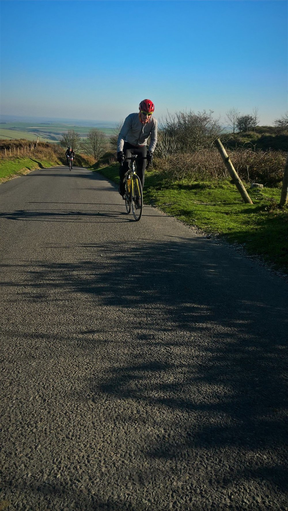 Mr SC, crisp day for climbing up to the Hardy Monument