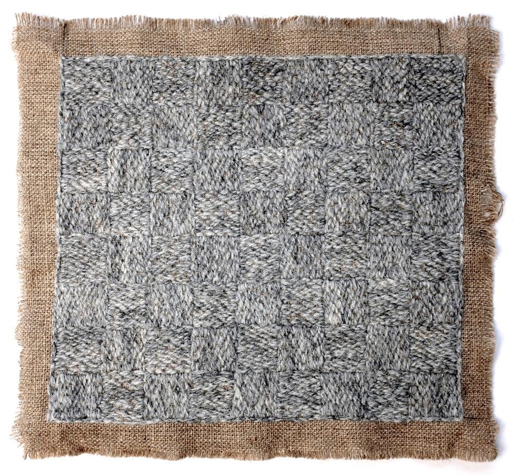 2019. Burlap + hand stitched Shetland wool. 21 x 20 cm