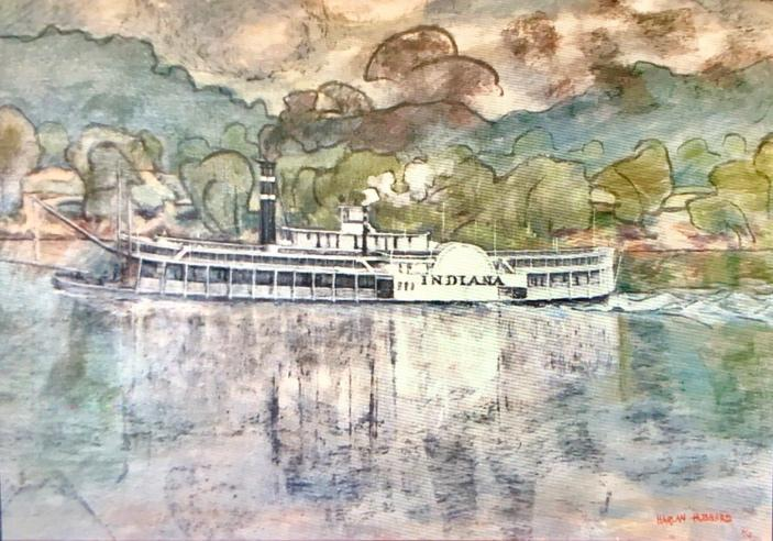 Harlan Hubbard, The Steamboat Indiana acrylic, date unknown, photo by John Begley