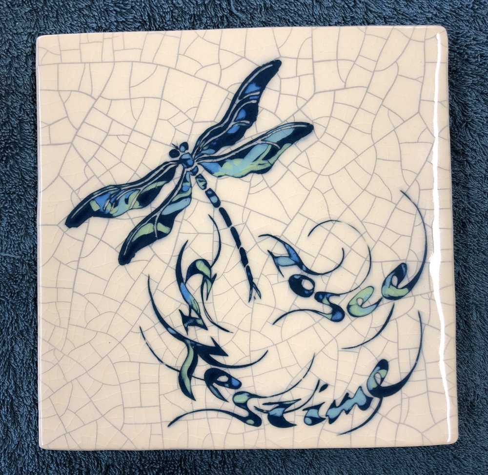"""To see takes time.""  Georgia O'Keeffe   Small Square Trivet (14.5 x 14.5cm)  £30"