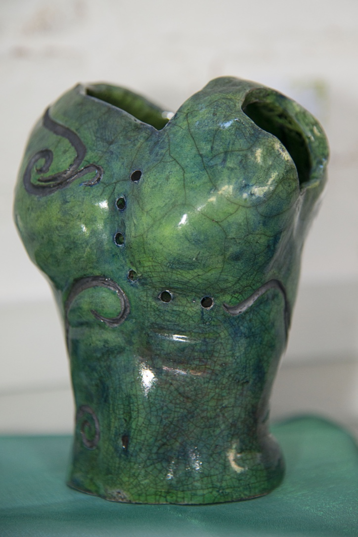 Green Glaze with Cobalt Carbonate.