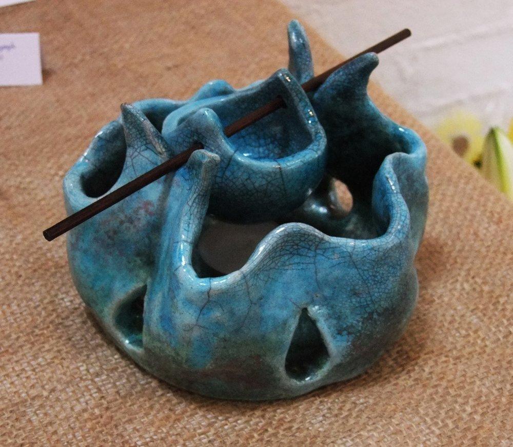 Raku Oil Burner  Turquoise Glaze