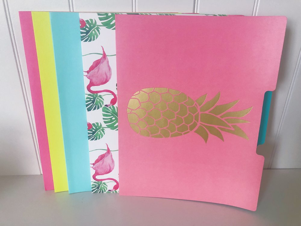 file folders - Pretty ones only. Not the manila-yellow, blue and red- folders- yuck! These folders are great for almost anything- important documents, home manuals, kids homework and more!