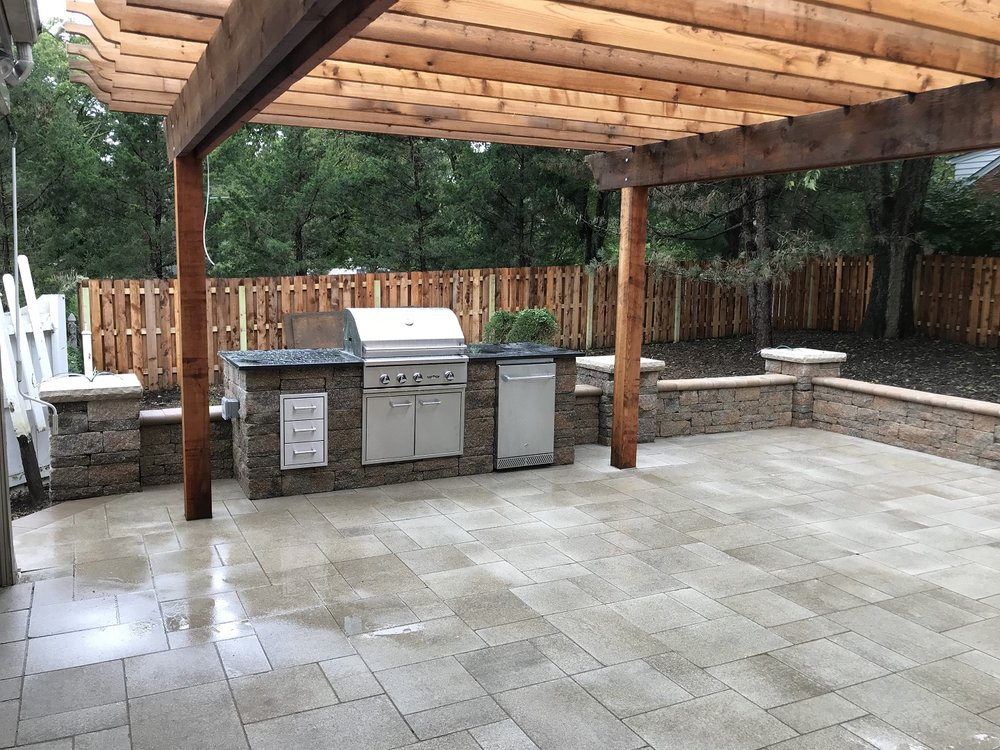Custom paver patios with pergola and outdoor kitchen in West Chester, OH