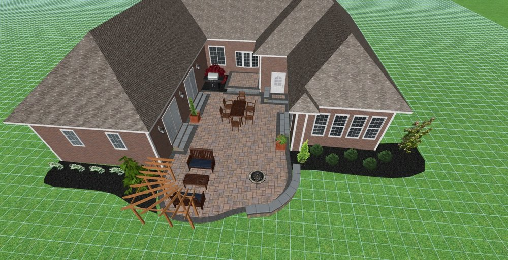 Landscape design for outdoor living area in West Chester, Ohio