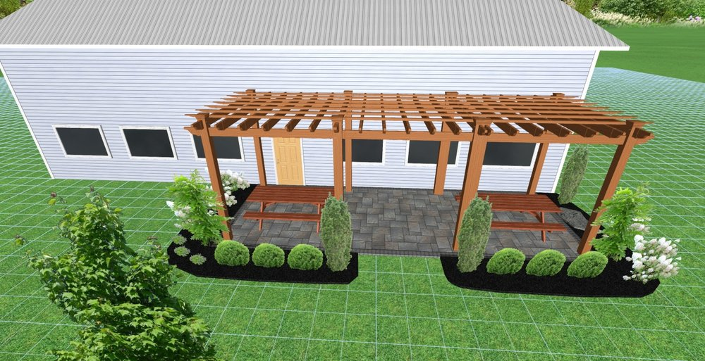 West Chester OH landscape design with paver patio and pergola