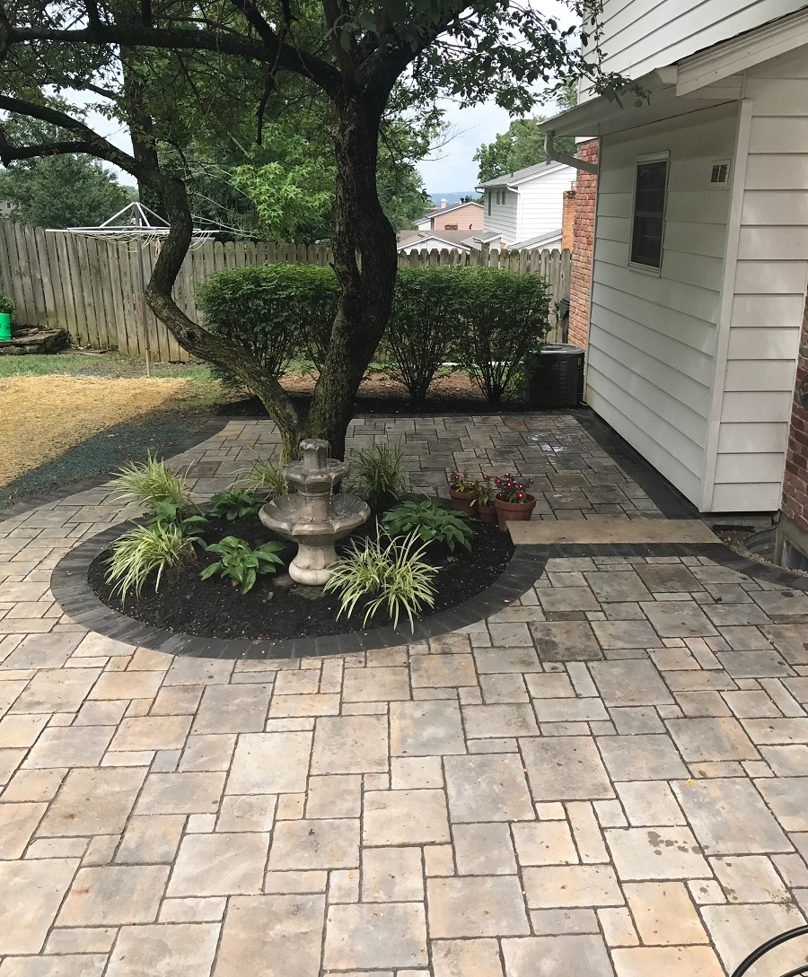 Paver patio in West Chester, OH with water features