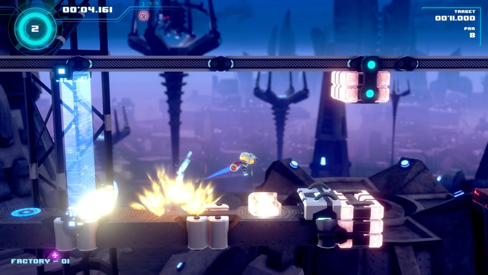 Rocket jumping through Factory World