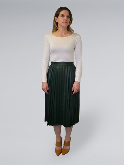 b2d01b566ed Pleated Faux Leather Midi Skirt - Styled by Kait The Personal Brand Shop