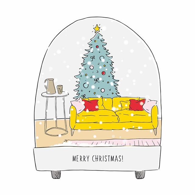 Merry Christmas / happy holidays to you! 🎉🎄✨ almost a year since my last post... I think that's a record. Here's an illustration I did for my Christmas cards this year  #christmas #snow #globe #snowglobe #christmascards #cards #giftcards #bath #holidays #happy #content #full #home #illustration #art #interior #illustrationdaily