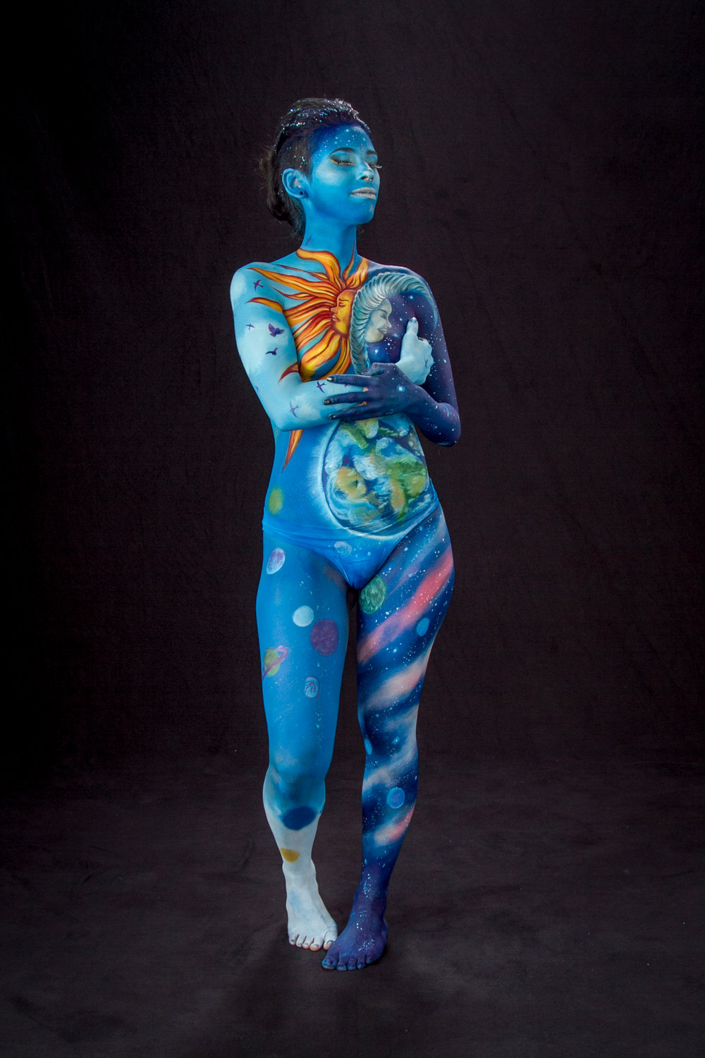 Galaxy Girl. painted on my model, Samantha - New Orleans. She is an aspiring artist and beautiful soul. Shot by Photographer, Phil Brown.