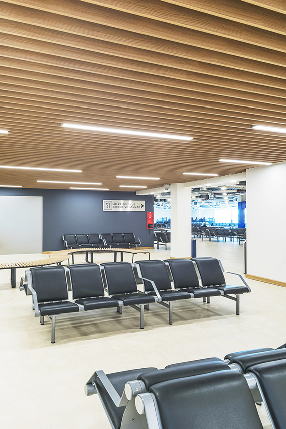 LARGE SCALE £4M FITOUT - The interior design and fit out experts Powell were awarded the large scale £4m fit out and refurbishment project following the design of Powell Dobson Architects. The refurbishment project included an extension and fit out of the Departure Lounge and a complete redesign of the 51° Business Lounge, all in bid to accommodate the expansion plans and raise the airport's profile.Our team was approached by Powell in February 2018 with a brief to design a clean, industrial look lighting scheme that works with the mechanical and electrical services combined with acoustic panels that had been put in place. The timescale and the budget were crucial on this project.