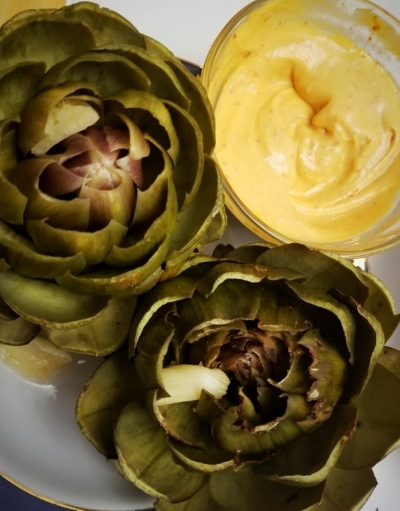 Steamed Artichoke with Kimchee Mayo Dip Thanks, Kymberly, for sharing your yummy looking artichokes on the Skokomish Valley Farms Facebook page! We love seeing what our members are cooking with the food in their baskets! I want to try the Kimchee Mayo Dip next!