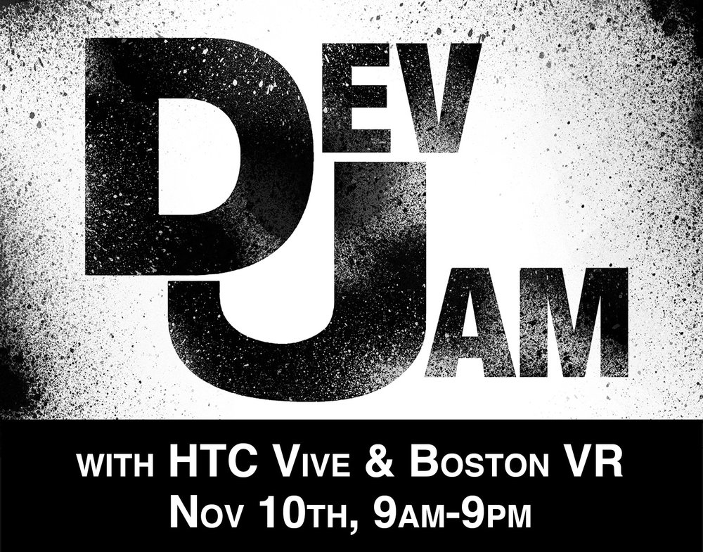 Thanks to the kind support of HTC VIVE, Dario Laverde & BostonVR! - Dev jams happen every month at the Lab.