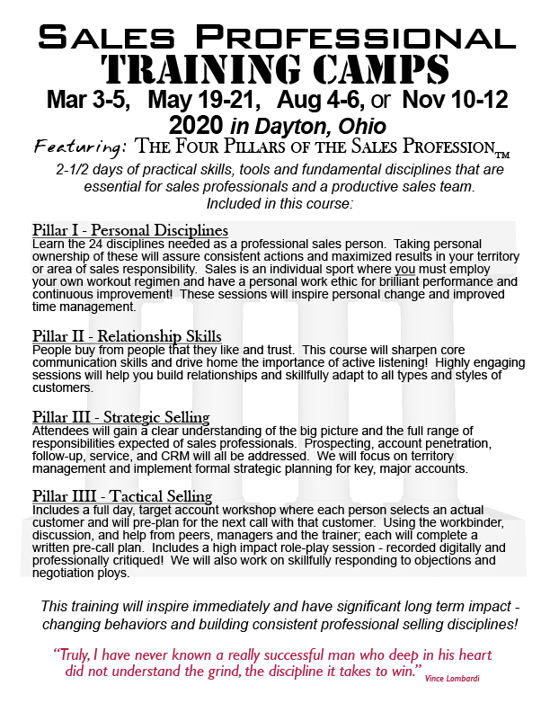 REGISTRATION:The Four Pillars of the Sales Profession - Public Sales  Training Camp $945 ea