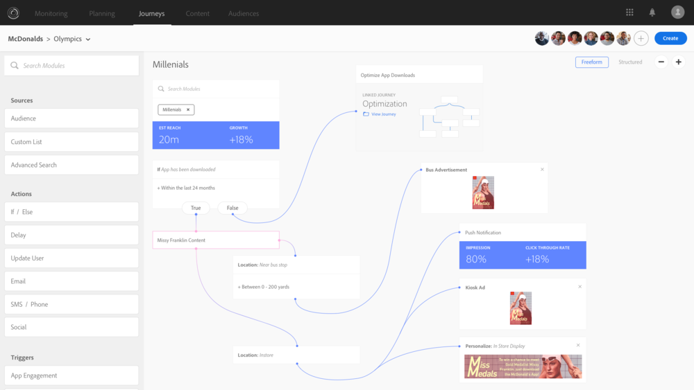 """This is a marketing activity coordination UI, where content and delivery touchpoints can be defined with rules and dynamically updated using Adobes Sensei AI technology. A patent was filed stemming from this design exercise titled """" CONTROLLING USAGES OF CHANNELS OF A USER EXPERIENCE ECOSYSTEM""""  in 2017."""
