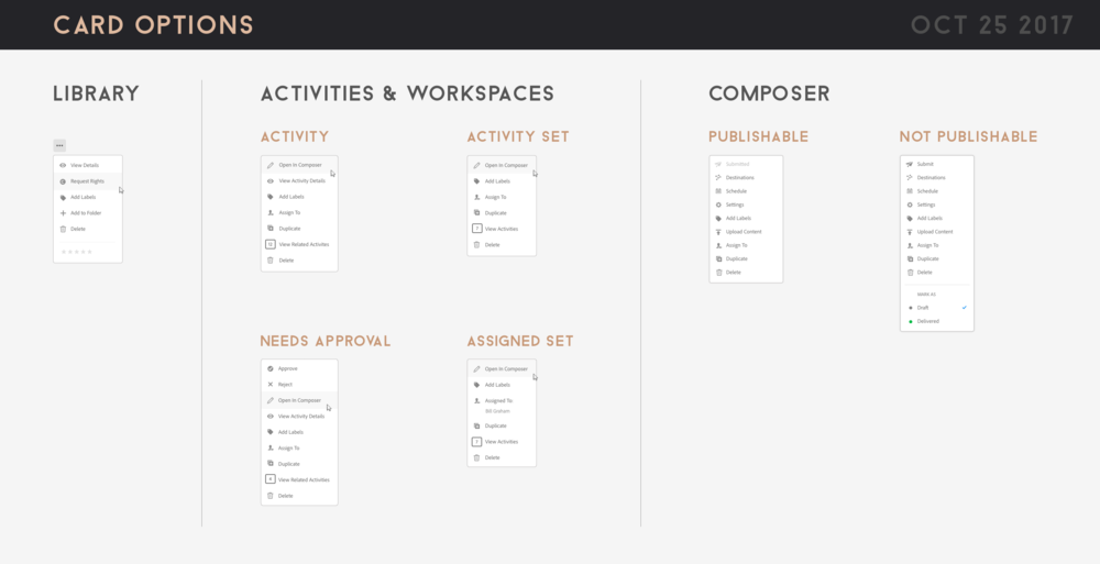 Card options for all states of the cards used in the composer and activity management UI.