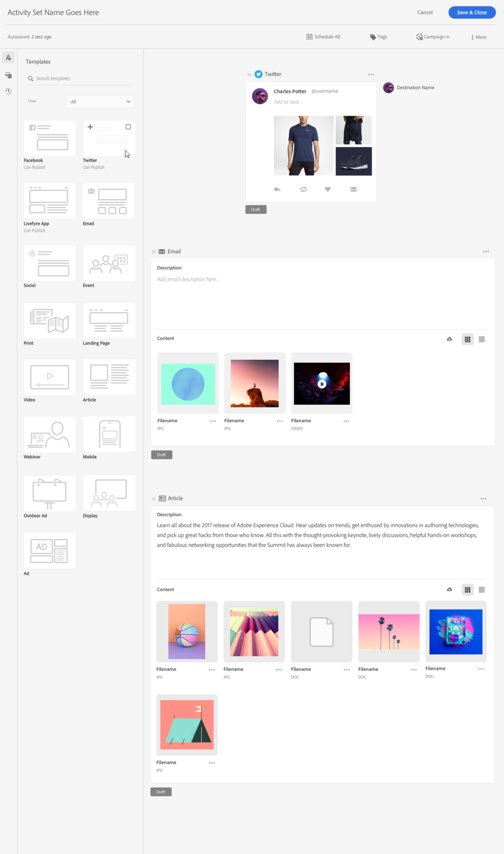 What Shipped 🚢 - The ability to edit emails was dropped along with the ability to schedule activities, except for Twitter due to engineering effort. They were planned to be added in V2.We also added other template types so users could create drafts of marketing activities that could be handed off to others and published from any other product they chose.