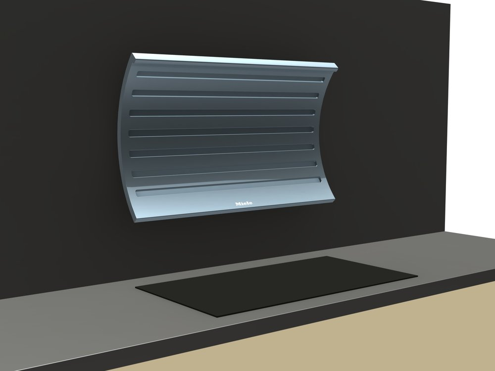 Render of a cooker hood that moves above the hob when turned on.