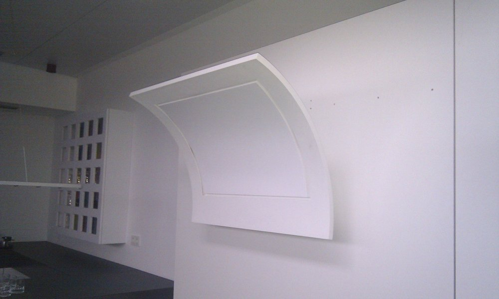 Physical model of cooker hood, refined from the previous render to have have a single square inlet for air extraction.
