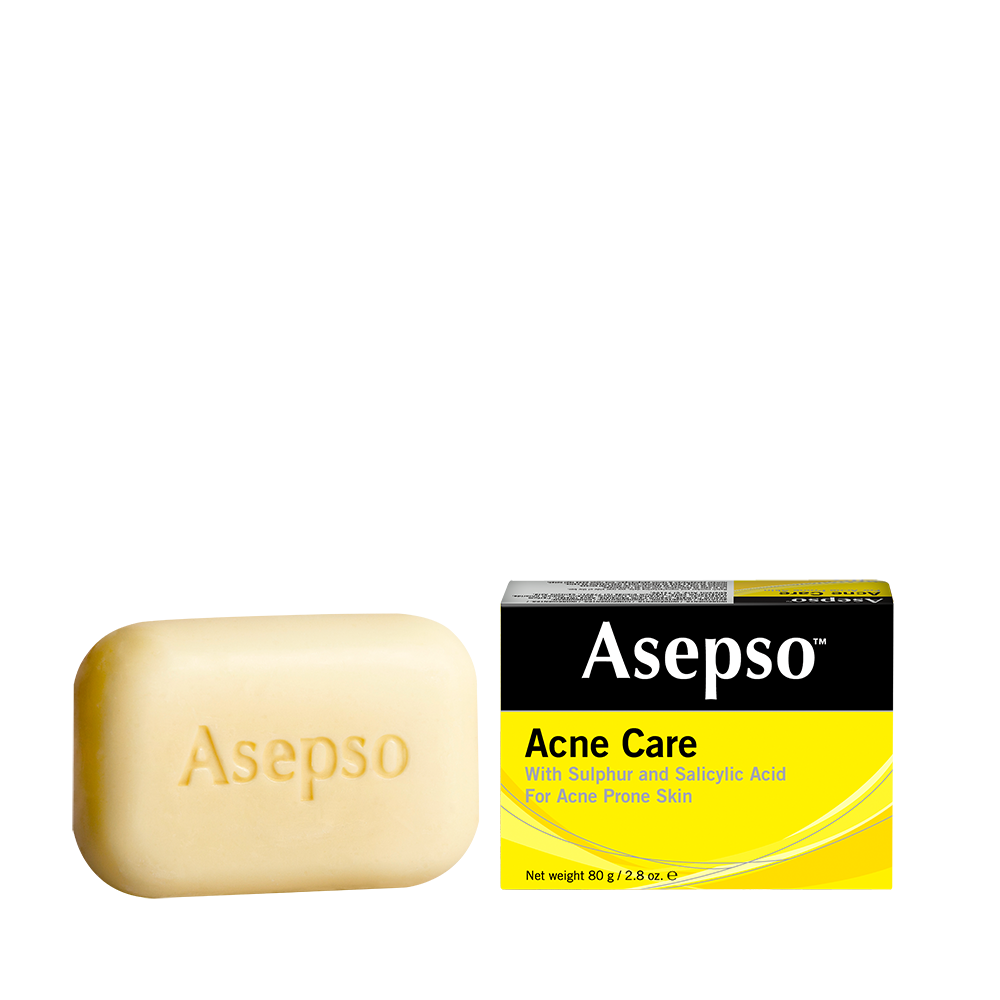 ACNE CARE - Acne is caused by the entrapment of oil and bacteria in clogged skin pores. The combination of Sulphur and Salicylic Acid in Asepso™ Acne Care Soap helps unclog pores, remove oil and bacteria and help clear up and rejuvenate skin quickly.For best results, use daily until skin is free of acne, looking clear and healthy.Available in 80G