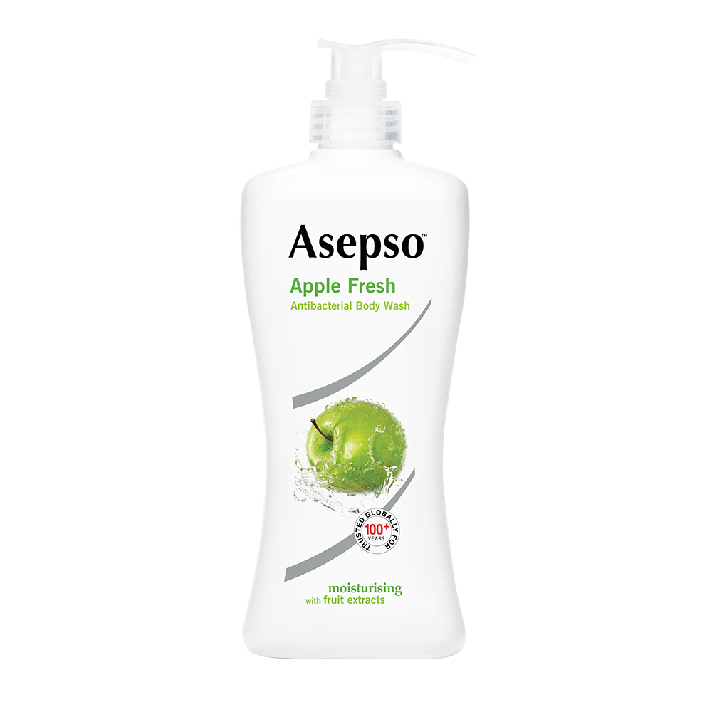 APPLE FRESH - Asepso™ Apple Fresh Body Wash with Green Apple Fragrance contains an antibacterial agent that removes 99.9% of germs. Its invigorating scent awakens your senses while its moisturiser protects your skin.Available in 100ML, 250ML, 650ML, 500ML (REFILL)