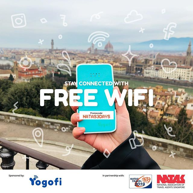 Last day to redeem FREE Wifi for your trip at the Grand Lucky Draw booth, NATAS Travel Fair 2019! For first 1,000 customers.  You can enjoy free 3 days wifi with promo code NATAS3DAYS if you did not manage to visit the show! More info in www.yogofi.com/nataspromo  #followjane #followjanetravels #yogofi #singapore #singaporeinsider #tripadvisorsg #natastravel2019