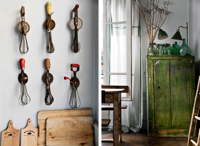 This place in France is a little nod to Pantone's colour of the year (Greenary if you didn't know!). It is also a fine example that vintage gives your home a little bit of soul and a great deal of interest.