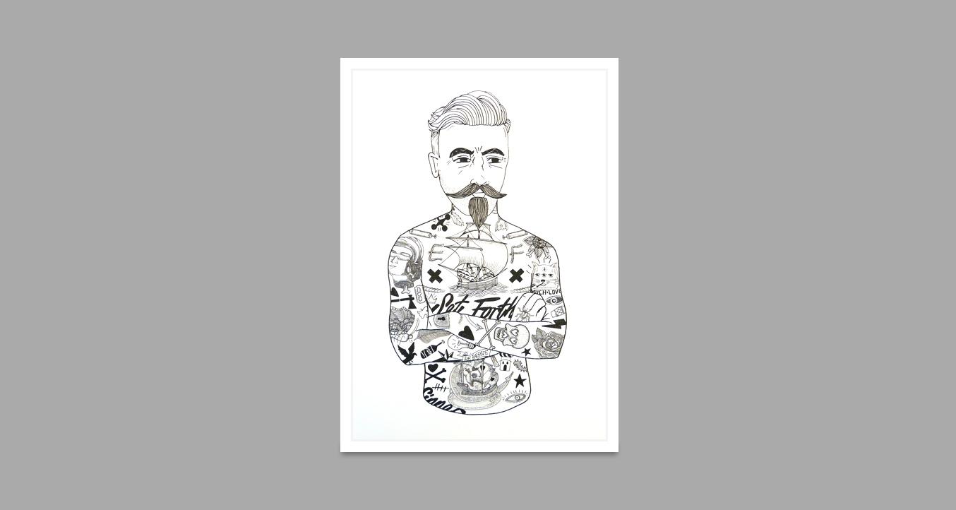 El Famoso Tat Man Limited Edition Print Black