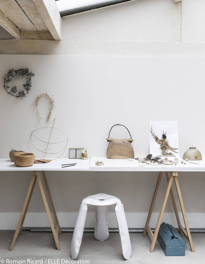 A simple worktop and trestles for this modern rustic workspace