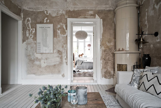 Pared back relaxed Scandinavian interior, back to basic with raw textures.