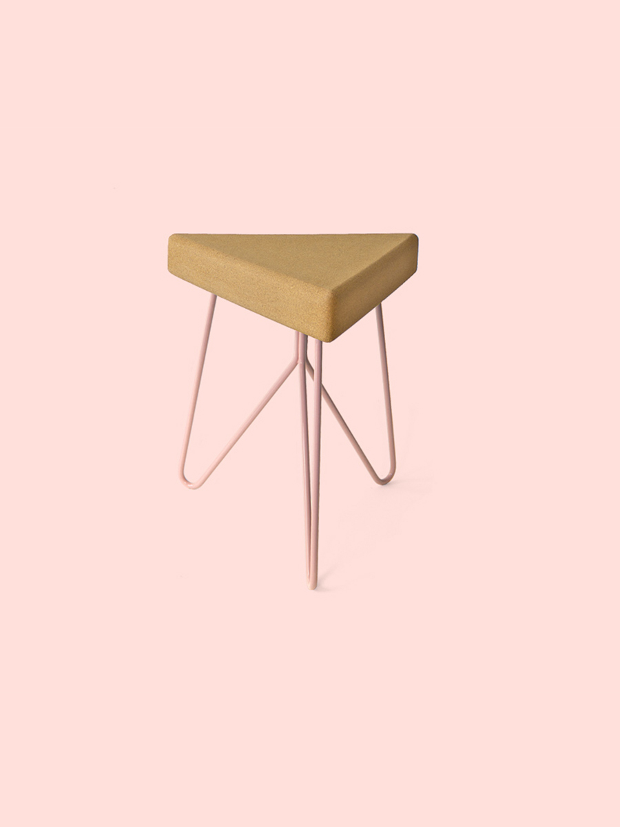Ga Lula Tres Stool Light Cork Pink Side Table