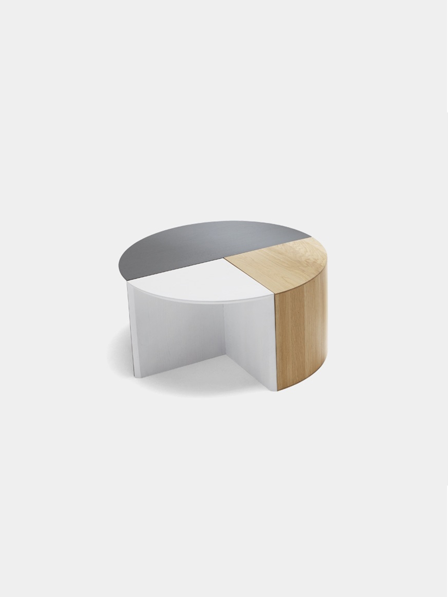 H Furniture Pie Chart System Coffee Table Quarter White