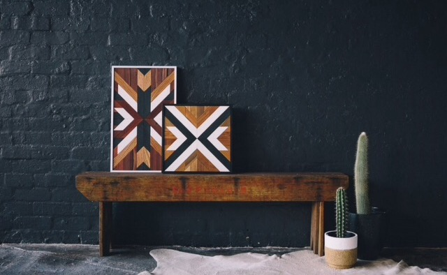 Add texture to your walls with these one off piece of art made of reclaimed wood from Hunter Wood Creative