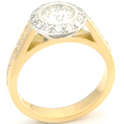 18ct Yellow and White Gold Tiffany Inspired Diamond Engagement Ring 2.jpg