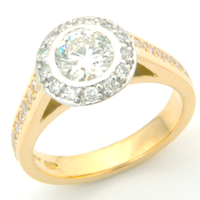 18ct Yellow and White Gold Tiffany Inspired Diamond Engagement Ring 3.jpg