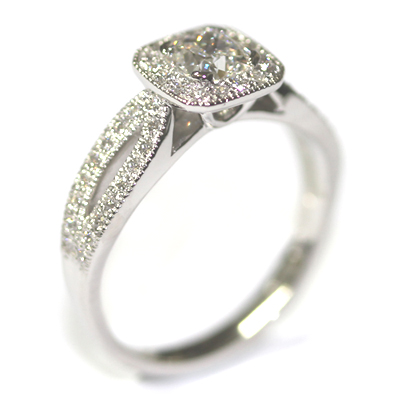 Diamond Halo Engagement Ring with Split Diamond Set Shoulders 2.jpg