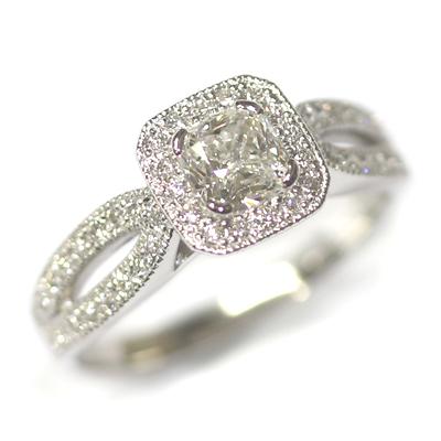 Diamond Halo Engagement Ring with Split Diamond Set Shoulders 1.jpg