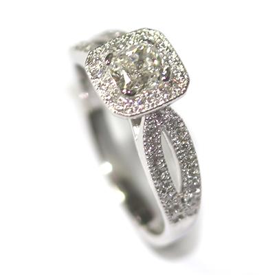 Diamond Halo Engagement Ring with Split Diamond Set Shoulders 4.jpg