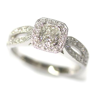 Diamond Halo Engagement Ring with Split Diamond Set Shoulders 5.jpg