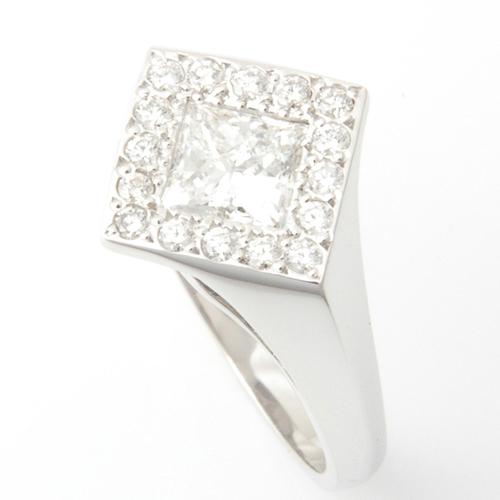 18ct White Gold Princess Cut Diamond Halo Engagement Ring