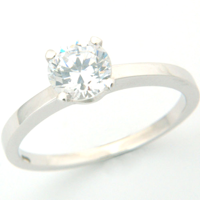 Platinum Tiffany Inspired Round Brilliant Cut Diamond Solitaire Engagement Ring 1.jpg