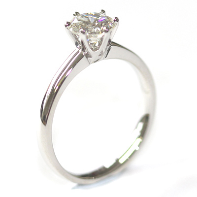 Platinum Six Claw Round Brilliant Cut Diamond Engagement Ring 2.jpg