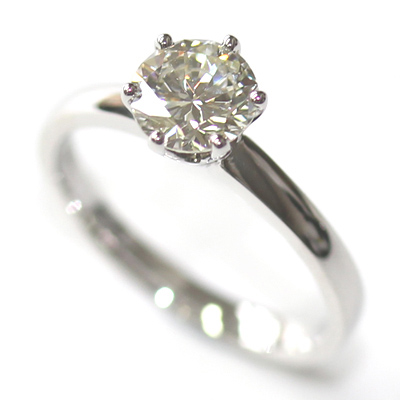 Platinum Six Claw Round Brilliant Cut Diamond Engagement Ring 4.jpg
