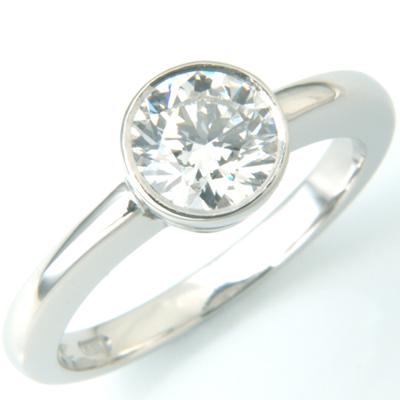 18ct White Gold Rub Set Diamond Solitaire Engagement Ring 1.jpg