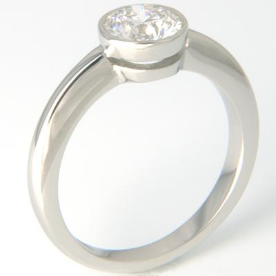 18ct White Gold Rub Set Diamond Solitaire Engagement Ring 2.jpg
